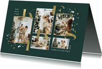Kerstkaart fotokaart goud typografie kerst sterren