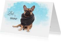 Kerstkaart - Franse Bulldog in de sneeuw