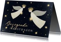 Kerstkaart Gezegende Kerstdagen met 2 engelen en sterren