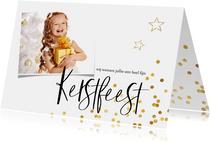 Kerstkaart goud confetti en eigen foto