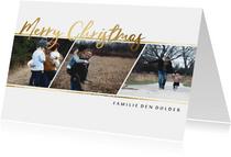 Kerstkaart gouden tekst fotocollage 3 foto's