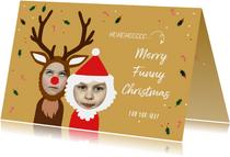 Kerstkaart grappig rendier en kerstman