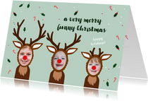 Kerstkaart grappige rendieren op een rij