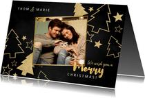 Kerstkaart grote foto, gouden kerstbomen en sterren