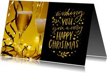 Kerstkaart Happy Christmas met champagne