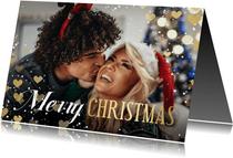 Kerstkaart hartjeskader liggend grote foto Merry Christmas