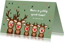 Kerstkaart hilarisch grappige rendieren