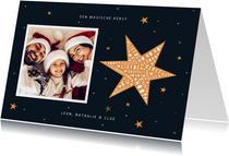 Kerstkaart hip met foto en ster met woorden