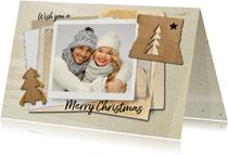 Kerstkaart hip trendy papier kerstbomen