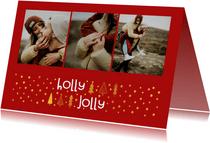 Kerstkaart 'holly jolly' goudlook met foto's