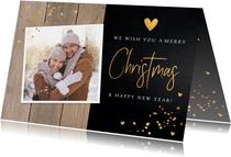 Kerstkaart hout donker confetti goudlook foto