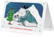 Kerstkaart ijsbeer en muis - IH