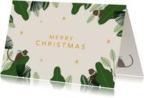 Kerstkaart jungle bells met aapjes