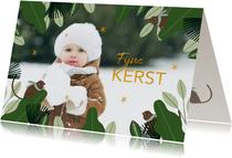 Kerstkaart jungle bladeren met aapjes en grote foto
