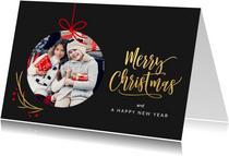 Kerstkaart kerstbal foto kader donker grijs