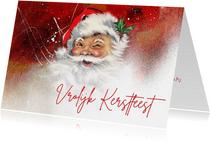 Kerstkaart kerstman knipoog vintage