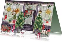 Kerstkaart kerstwinkel met kerstbomen