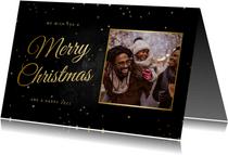 Kerstkaart klassiek Merry Christmas foto en sterretjes