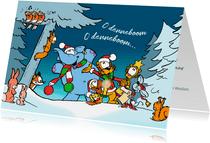Kerstkaart koor Loeki in de sneeuw