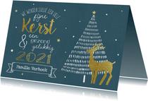 Kerstkaart - Krijtbord met rendier en kerstboom