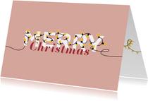 Kerstkaart lampjes Merry Christmas