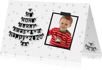 Kerstkaart letterslinger foto zwartwit