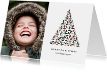 Kerstkaart licht met foto en botanische kerstboom