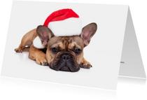Kerstkaart - Lieve kerst Franse Bulldog met kerstmuts