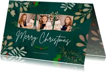 Kerstkaart liggend Botanisch 3 foto's - een gouden kerst