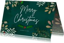 Kerstkaart liggend Botanische kerst - een gouden kerst