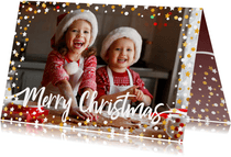 Kerstkaart liggend gouden sterren met confetti en foto