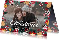 Kerstkaart liggend met eigen foto en kerstillustraties kader