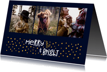 Kerstkaart 'merry & bright' goudlook met foto's