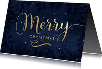 Kerstkaart Merry Christmas goud blauw
