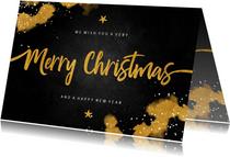 Kerstkaart Merry Christmas krijtbord met goud