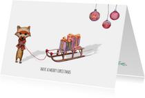 Kerstkaarten - Kerstkaart merry christmas met illustraties