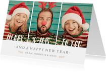 Kerstkaart met 3 eigen foto's en aanpasbare tekst