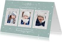 Kerstkaart met 3 klassieke witte fotolijstjes