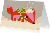 Kerstkaarten - Kerstkaart met een strakke illustratie van een sneeuwvosje