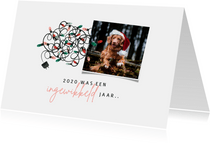 Kerstkaart met foto corona - ingewikkeld jaar