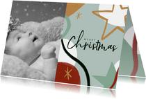 Kerstkaart met foto en abstracte illustratie en ster