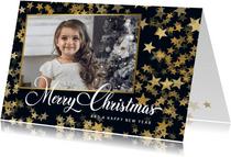 Kerstkaart met foto en sterren van goud