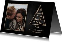 Kerstkaart met foto, houten kerstboom en krijtbord