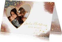 Kerstkaart met foto stijlvol waterverf en gouden spetters