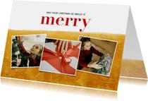 Kerstkaart met fotocollage, goudlook en merry