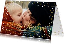 Kerstkaart met grote foto, merry christmas en confetti