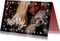 Kerstkaart met grote foto, sterren kader en merry xmas