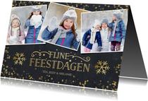Kerstkaart met krijtbord achtergrond en goudlook confetti