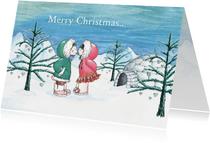 Kerstkaart met lieve eskimo's