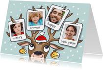 Kerstkaart met rendier gewei met 4 foto's